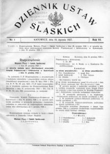 Dziennik Ustaw Śląskich, 10.01.1927, R. 6, nr 1