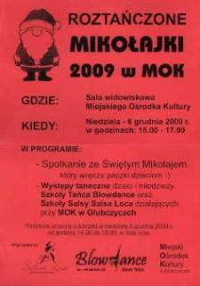 Zaproszenie na Roztańczone Mikołajki w Miejskim Ośrodku Kultury, 2009 r.
