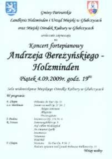 Zaproszenie na koncert fortepianowy Andrzeja Bereżyńskiego-Holzminden, 2009 r.