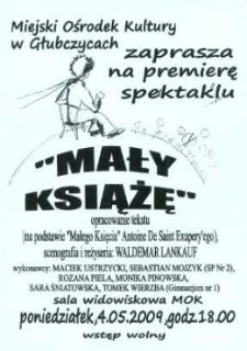 """Zaproszenie na premierę spektaklu """"Mały Książę"""", 2009 r."""