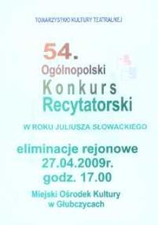 Zaproszenie na 54 Ogólnopolski Konkurs Recytatorski, 2009 r.