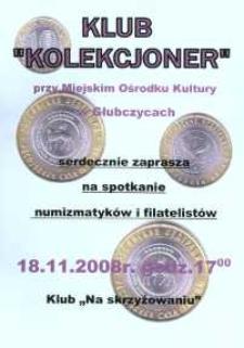 Zaproszenie na uroczyste spotkanie numizmatyków i filatelistów, 2008 r.
