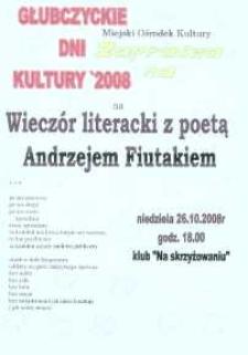 Zaproszenie na wieczór literacki z poetą Andrzejem Fiutakiem, 2008 r.