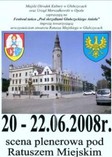 """Zaproszenie na Festiwal tańca """"Pod skrzydłami Głubczyckiego Anioła"""", 2008 r."""
