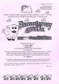 """Zaproszenie na spektakl pt. """"Barankowy gaik"""", 2007 r."""