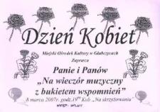 """Zaproszenie na """"wieczór muzyczny z bukietem wspomnień"""", 2007 r."""
