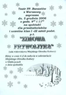 """Zaproszenie na spektakl pt. """"Zimowa Frywolka"""", 2006 r."""