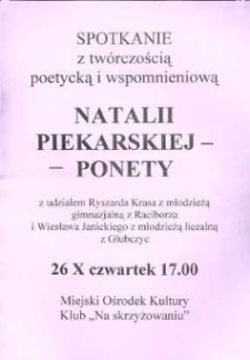 Zaproszenie na spotkanie z twórczością poetycką Natalii Piekarskiej-Ponety, 2006 r.