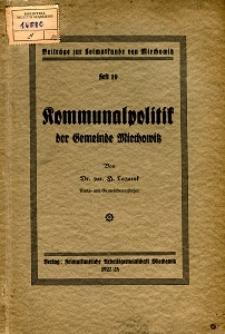 Kommunalpolitik der Gemeinde Miechowitz