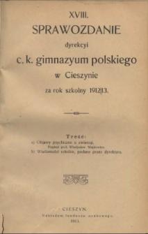 Sprawozdanie Dyrekcyi C.K. Gimnazyum Polskiego w Cieszynie, 1912/1913