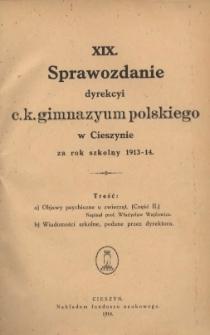 Sprawozdanie Dyrekcyi C.K. Gimnazyum Polskiego w Cieszynie, 1913/1914