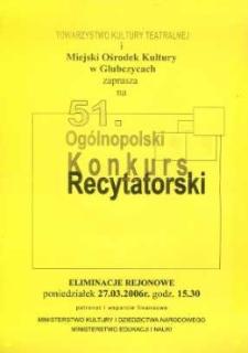 Zaproszenie na 51. ogólnopolski Konkurs Recytatorski, 2006 r.