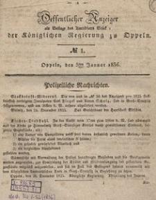 Oeffentlicher Anzeiger als Beilage des Amts-Blatt der Königlichen Regierung zu Oppeln. 1836