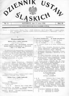 Dziennik Ustaw Śląskich, 14.03.1930, R. 9, nr 4