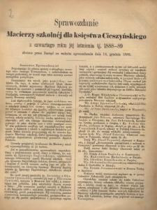 Sprawozdanie Macierzy Szkolnej dla Księstwa Cieszyńskiego, 1888/1889