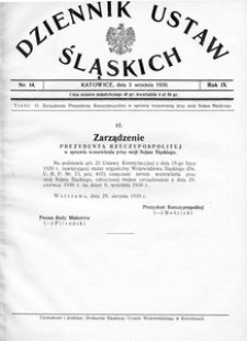 Dziennik Ustaw Śląskich, 03.09.1930, R. 9, nr 14
