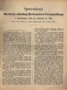 Sprawozdanie Macierzy Szkolnej dla Księstwa Cieszyńskiego, 1894