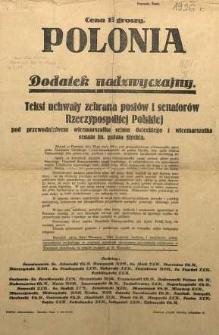 Tekst uchwały zebrania posłów i senatorów Rzeczypospolitej Polskiej. Dodatek nadzwyczajny [do Polonii]