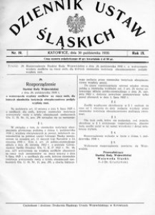 Dziennik Ustaw Śląskich, 30.10.1930, R. 9, nr 19