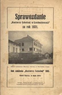 Sprawozdanie Macierzy Szkolnej w Czechosłowacji, 1931