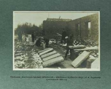 Osadzenie pierwszych kamieni cokołowych z piaskowca szydłowieckiego od ul. Reymonta (październik 1924 r.)