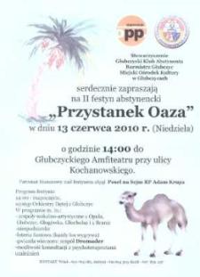 """Zaproszenie na II festyn abstynencki """"Przystanek Oaza"""", 2010 r."""