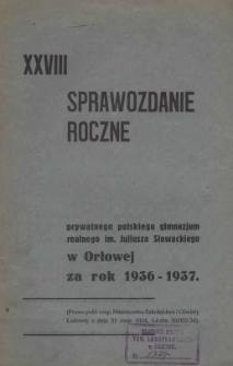 Sprawozdanie Roczne Prywatnego Polskiego Gimnazjum Realnego im. Juliusza Słowackiego w Orłowej, 1936/1937