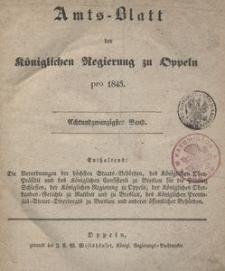 Amts-Blatt der Königlichen Regierung zu Oppeln pro 1843, 28 Bd.