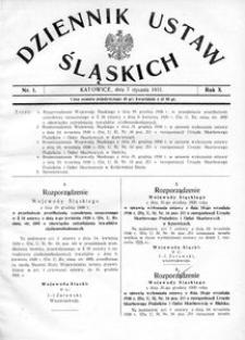 Dziennik Ustaw Śląskich, 07.01.1931, R. 10, nr 1