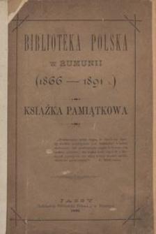 Biblioteka Polska w Rumunii (1866-1891 r.). Książka pamiątkowa