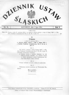 Dziennik Ustaw Śląskich, 03.07.1931, R. 10, nr 15