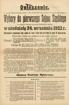 Ogłoszenie. Wybory do pierwszego Sejmu Śląskiego