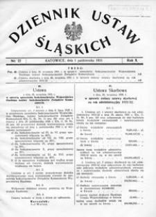 Dziennik Ustaw Śląskich, 01.10.1931, R. 10, nr 22