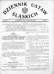 Dziennik Ustaw Śląskich, 17.10.1931, R. 10, nr 23