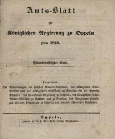 Amts-Blatt der Königlichen Regierung zu Oppeln pro 1846, 31 Bd.