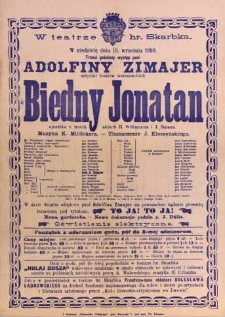 Biedny Jonatan operetka w trzech aktach H. Wittmanna i J. Bauera