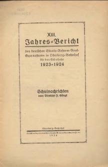 Jahres-Bericht des deutschen Staats-Reform-Realgymnasiums in Oderberg-Bahnhof für das Schuljahr 1923/24
