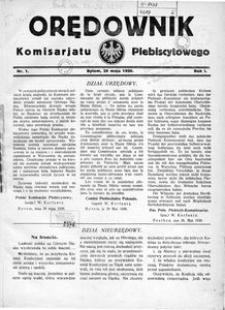 Orędownik Komisarjatu Plebiscytowego, 1920, R. 1, nr 1