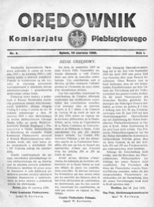 Orędownik Komisarjatu Plebiscytowego, 1920, R. 1, nr 4