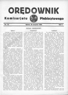 Orędownik Komisarjatu Plebiscytowego, 1920, R. 1, nr 12