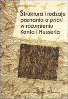 Struktura i rodzaje poznania a priori w rozumieniu Kanta i Husserla