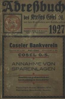 Adressbuch / Einwohnerbuch des Kreises Cosel OS. mit den Gemeinden und Gutsbezirken aus dem Kreise