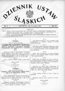 Dziennik Ustaw Śląskich, 30.01.1932, R. 11, nr 2