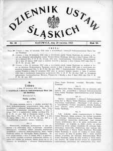 Dziennik Ustaw Śląskich, 20.04.1932, R. 11, nr 10