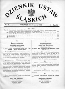 Dziennik Ustaw Śląskich, 24.06.1932, R. 11, nr 15