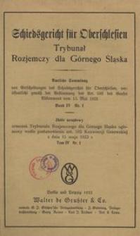 Trybunał Rozjemczy dla Górnego Śląska. T. 4, nr 1/2