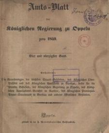 Amts-Blatt der Königlichen Regierung zu Oppeln pro 1859, 44 Bd.