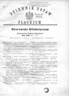Skorowidz Alfabetyczny do Dziennika Ustaw Śląskich. Rok 1933 (Nr 1-30)