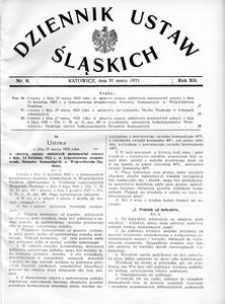 Dziennik Ustaw Śląskich, 31.03.1933, R. 12, nr 9