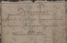 Księga urodzeń, małżeństw i zgonów Pilica 1903